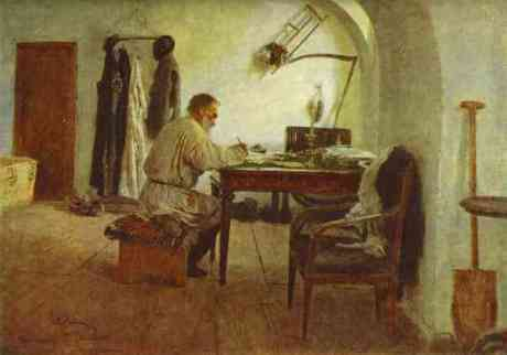 Ilya Repin: Tolstoy in his study, 1891