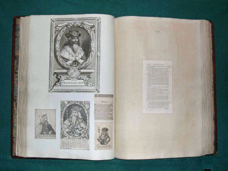 Page from James Granger's Biographical History, extra-illustrated by Anthony Morris Storer with prints of Edward III dating to the 17th and 18th centuries. Eton College Library.